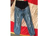 Ripped over the bump maternity jeans H&M size 38/12 uk