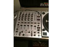 2 kam turntables and Behringer mixer for sale
