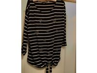 NAVY AND WHITE STRIPED WALLIS TOP WITH SPARKLY HEARTS AND TIE AT BOTTOM