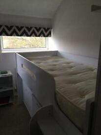 White cabin bed with desk & drawers
