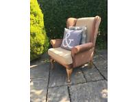 Wing back armchair LIBRARY chesterfield chair QUEEN ANNE LEGS