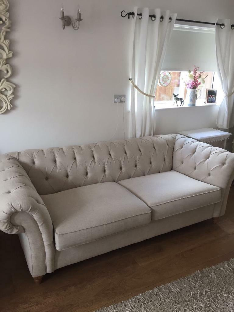 Next Gosford Chesterfield Style 3 Seater Sofa Cream Oatmeal Colour Rrp 1190