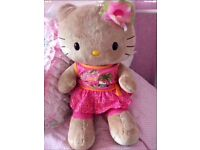 THREE BUILD A BEAR FULL SIZE HELLO KITTIES WITH OUTFITS