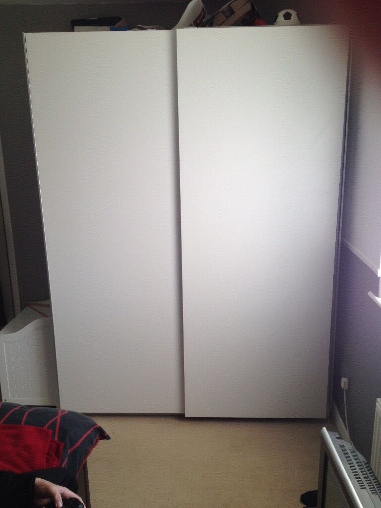very large ikea wardrobe white off white sliding doors in ribbleton