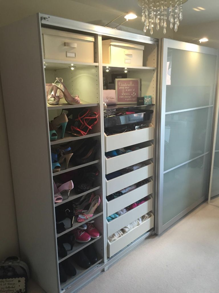 stunning ikea pax white wardrobe with glass sliding doors and led