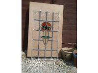 C1930 leaded lights window (no frame) for sale. 43cm x82cm.