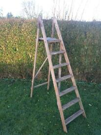 Vintage Wooden Step Ladder 6 Rung Folding