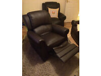 2x Brown Faux Leather Armchairs