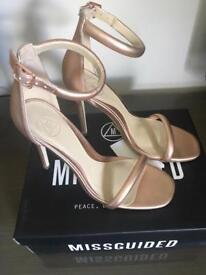 BNIB MISSGUIDED ROSE GOLD metallic strappy sandal heels size 5