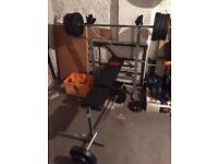 Weights bench, weights, bars and dumb bells