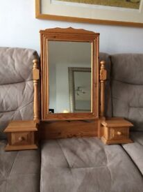 Lovely Solid Pine Swivel Mirror with two drawers