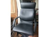 IKEA ARAS office/desk swivel chair in black leather