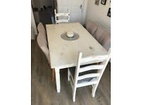 **RUSTIC WHITE WASHED DINING TABLE & 6 CHAIRS**