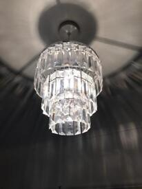 Victorian 3 Tier Round Ceiling Pendant Lampshade Clear Acrylic Beads
