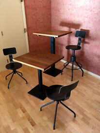 Casual dining restaurant solid oak high and low tables; industrial style chairs & swivel bar stools