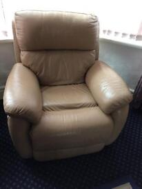 Leather three piece suite and footstool - all electric operated for reclining