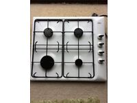 Gas hob - White Zanuasi. Excellent condition. No chips. Hardly used. 51cm by 58cm