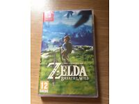 **SEALED** NINTENDO SWITCH AND THE LEGEND OF ZELDA GAME BRAND NEW AND HAS 1 YEAR WARRANTY