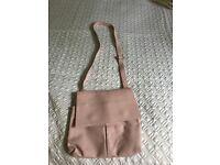 Italian Leather Shoulder Bag - Vera Pelle- dusky pink.