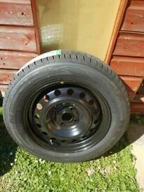 Spare wheel with new tyre