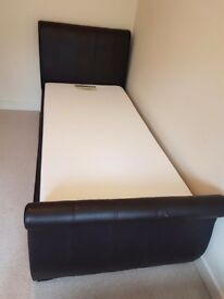 Single faux leather bed with mattress