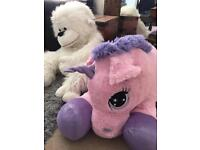 Giant Cuddly unicorn and monkey