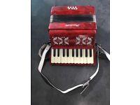 Piano Accordion for sale. Made by Scarlatti. 22 keys, 8 bass chords.