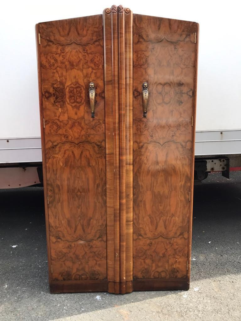 Vintage walnut gents wardrobe