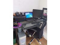 Black Glass Desk , Office Chair , HP Photosmart Printer / Scanner