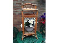 FURNITURE SMALL WICKER STAND WITH FLOWER ARRANGEMENT INCLUDED