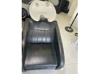 Barber mirrors chairs hair wash basin