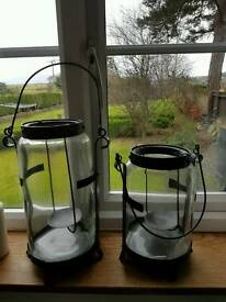 Hurricane candle lanterns glass and metal