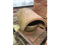Clay hood top chimney roof flue insert