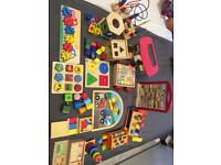 Large bundle of wooden toys baby toddler Montessori