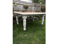 Antique carved Shabby Chic Oak Dining Table