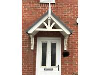 White and grey front door porch canopy