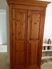 "Solid Pine Wardrobe W 3' D 21"" H 80"" Very Good Condition"