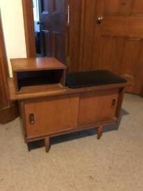 60s/70s Teak and faux-leather telephone table