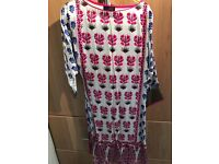 Sana Safinaz silk 3 piece suit for U.K. Size 10/small. Printed with embroidered sleeves