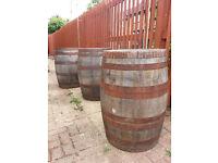 Three old oak whiskey barrels