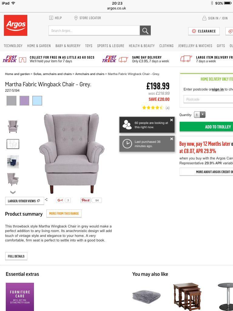 Argos Martha Grey Wing Back Chair Brand New