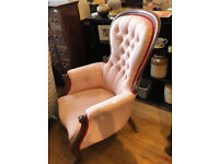 Wooden Framed Armchair - Good quality and condition . Free Local Delivery Size W 28in D 26in H 42in