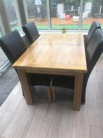 Solid Oak Table and Chairs - Extendable