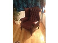 Beautiful brown leather Queen Anne Chesterfield chair