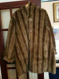 Dennis basso faux shearling and faux fur reversible coat