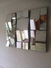 Triple mirror wall hanging