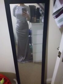 Silver satin fishtail evening/prom gown size 6-8