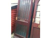 Exterior hardwood door with 2 patterned glass panels