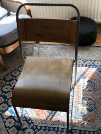 2 cool retro wooden and metal school chairs - office / dining room