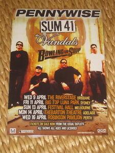 PENNYWISE - SUM 41 -  AUSTRALIAN  TOUR  -  PROMO TOUR POSTER